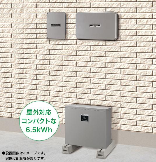 屋外対応コンパクト蓄電池の設置イメージ