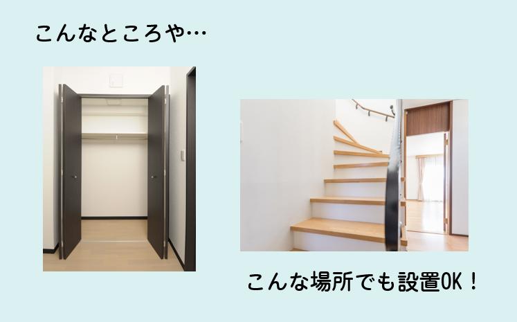 室内設置で場所をとらないイメージ