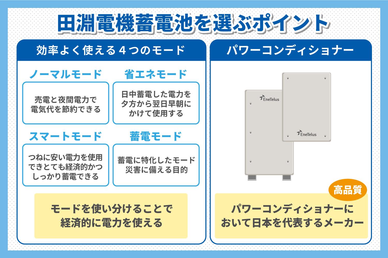 田淵電機蓄電池を選ぶポイント