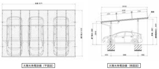 3台置き_平面・側面図
