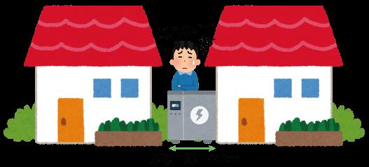 家との間に一般蓄電池を設置